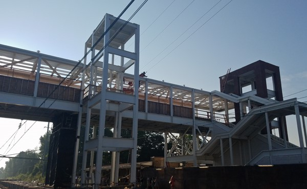 Installing roof blocking for pedestrian overpass bridge (August 2018)