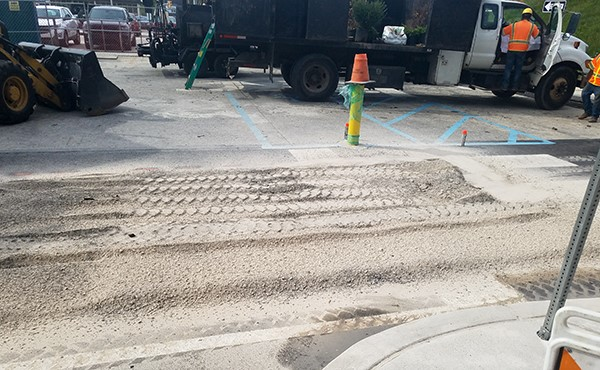 Pavement work at south lot (August 2019)