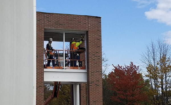 Installing window receptors at north elevator tower (November 2018)