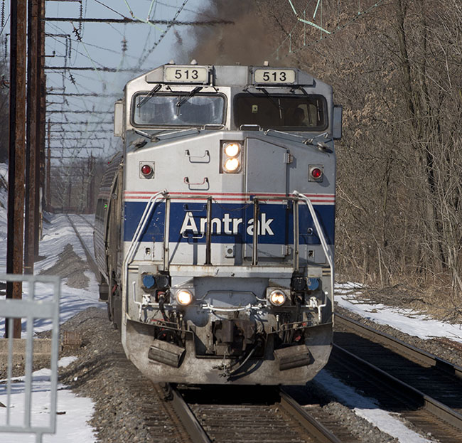 Photo of Amtrak locomotive from front.
